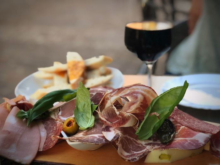 Good food and wine Apperative Meat! Meat! Meat! Italian Food Italian Food And Drink Alcohol Glass Drink Food Refreshment Freshness Wineglass Close-up Focus On Foreground Wine EyeEmNewHere EyeEmNewHere