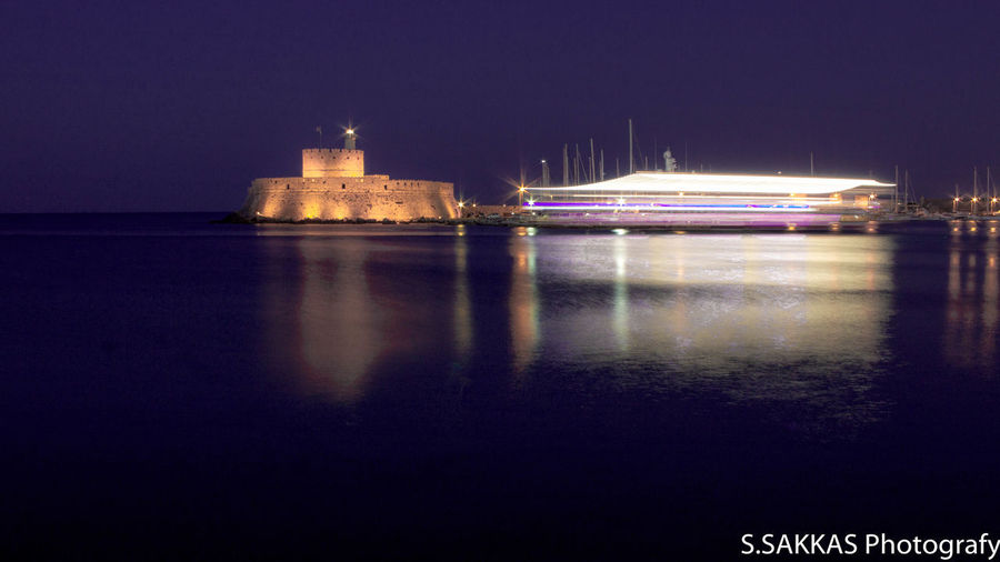 Reflection Night Rhodes Greece Water Fortress Long Exposure Night Photography Clear Sky Greece Horizon Over Water Harbor Summer