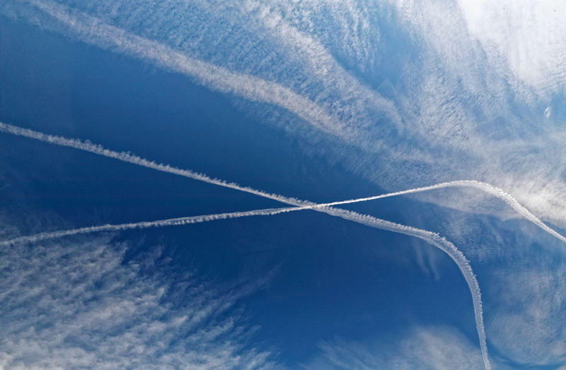 Beauty In Nature Blue Contrail Day Nature No People Outdoors Scenics Sky Vapor Trail White
