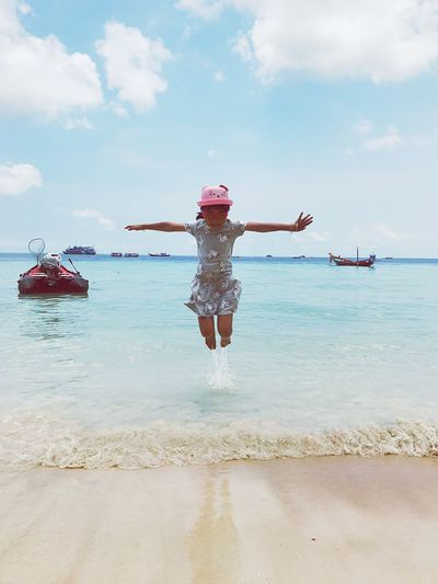 Freedom Jumpshot Jumping Water Sky Cloud - Sky Sea Nature Leisure Activity One Person Lifestyles Land Beach Full Length Enjoyment Real People Trip Outdoors Day Limb Human Arm Women Arms Outstretched