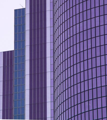 Downtown Los Angeles Architecture Built Structure No People Pattern Modern Skyscraper City Office Block Business Business Finance And Industry Lines Geometric Shape Geometric Shapes Work Architecturelovers Modern Architecture Purple