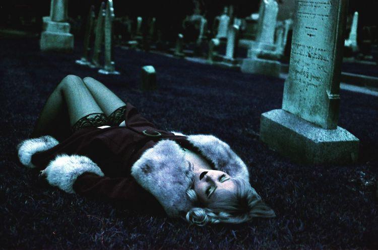 Beauty rest Organsinsleep Laurenluck Lomochrome Purple Film Analog Cemetery Mood Woman Dark Colors Supernatural Goddess 35mm Lomography Beauty Paranormal