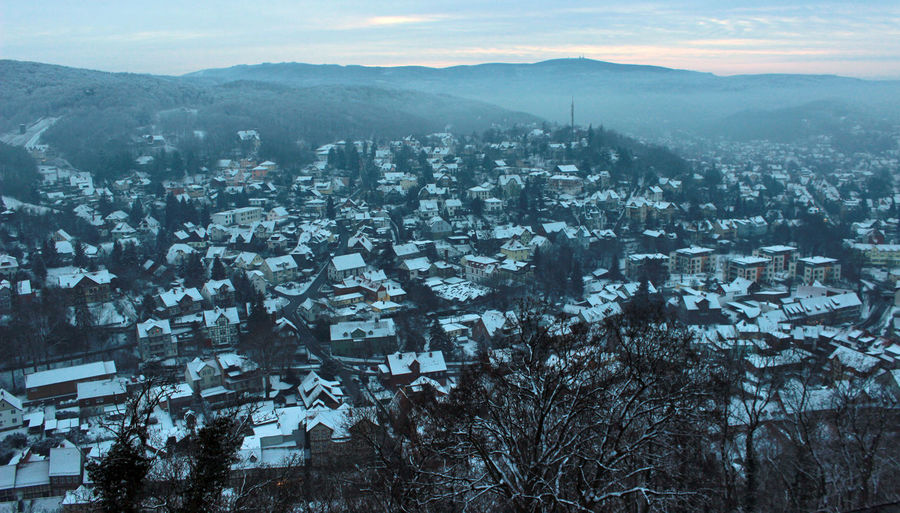 the Town of Wernigerode in Winter Travel Cultural Center Cultural Heritage Old Town Wernigerode City Cityscape Cold Temperature High Angle View No People Snow Snow Covered Sunset Wernigerodecastle Winter
