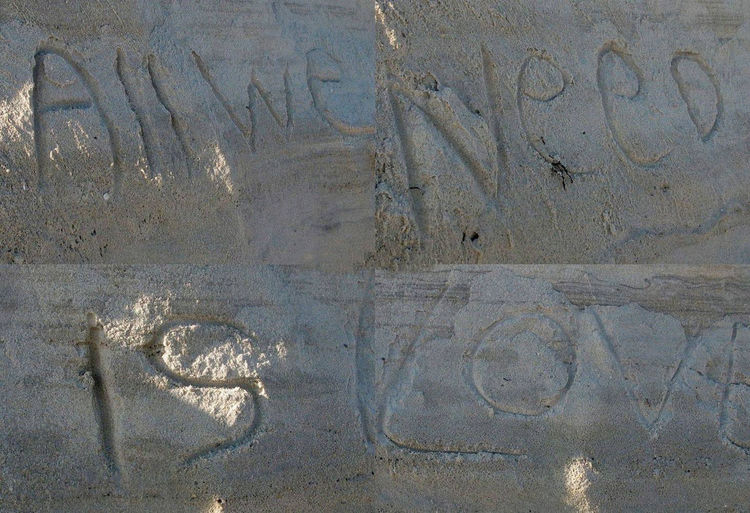 All We Need Is Love All We Need Is Love. Beach Art Blizzard Broadway Crossi Fire Island Hawk John Lennon S&m^_^ Sand Snow Songs I Love Storn Carving In The The Dakota