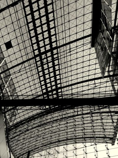 Low Angle View Of Glass Ceiling At Railroad Station