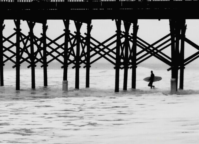 Surfer Surfing Surf's Up Surf Surfing Life Pier Boardwalk Ocean Folly Beach Folly Beach Pier South Carolina South Carolina Beach