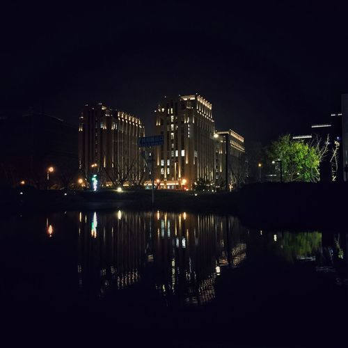 Illuminated Night Reflection Water Sky Architecture Building Exterior City Light Building Lighting Equipment River Copy Space