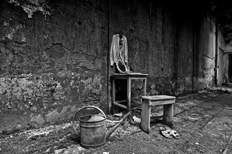 Old chair in abandoned building