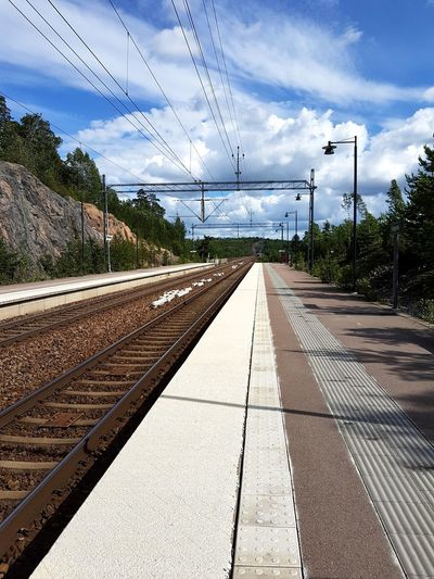 Track station Transportation Cloud - Sky Railroad Track Sky No People Cable Outdoors Technology Day Parallel Telephone Line Nature