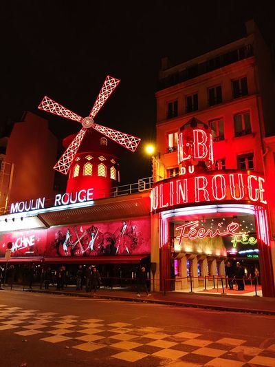 Moulin Rouge... Illuminated Night City Building Exterior Text Street City Life Sky Outdoors Famous Place Tourism Red Color Mill Mouline Mouline Rouge Paris France Sightseeing