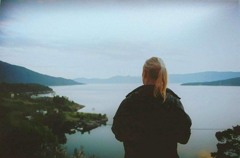Beauty In Nature Blond Hair Day Freedom Girl Holiday Lake Landscape Mountain Mountaindew  Nature Norway One Person Outdoors Silence Silence Of Nature Sky Tranquility Tranquility Trip View First Eyeem Photo