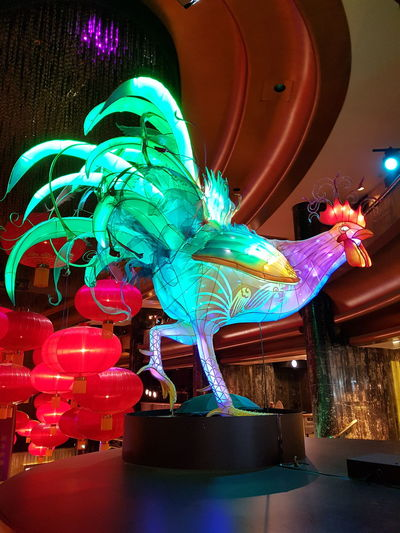 Year of the Rooster.. Sculpture Astrology Sign Animal Representation Multi Colored Illuminated Animal Themes Chinese New Year Rooster Year Southbank Melbourne Melbournephotos Melbournecity Indoors  Crown Casino