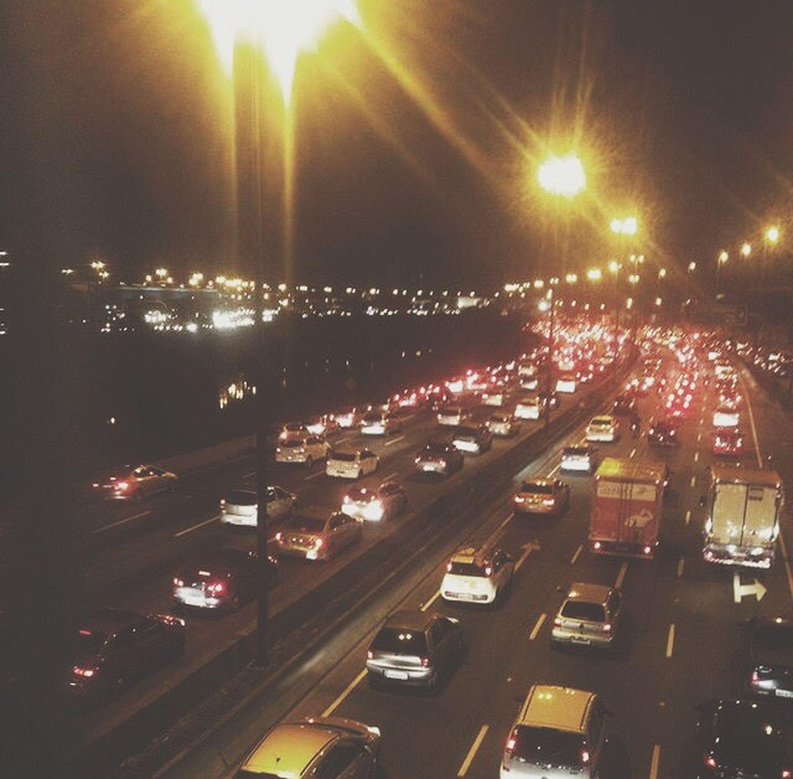 transportation, illuminated, night, traffic, city, car, road, no people, outdoors, sky