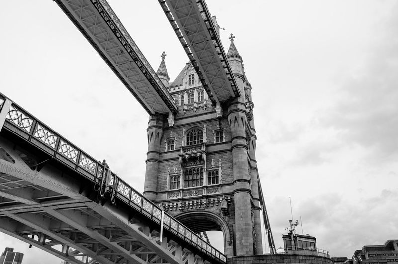 Architecture Built Structure Travel Destinations Famous Place Tourism Building Exterior Low Angle View Travel Capital Cities  City Engineering Bridge - Man Made Structure Tower Tower Bridge  Monument London LONDON❤ Tower Bridge  Uk Travel Photography Travel Black & White Art Perspective Architecture