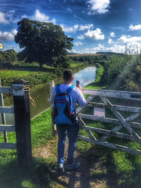 Opening gate Tree Grass Full Length Sky Rear View Landscape Casual Clothing Cloud Cloud - Sky Field Day Man Tranquil Scene Canal Walking Country Countrylife Country Walking Outdoors Rural Scene Canal Walks Canal Path Canals And Waterways England Wooden Gate