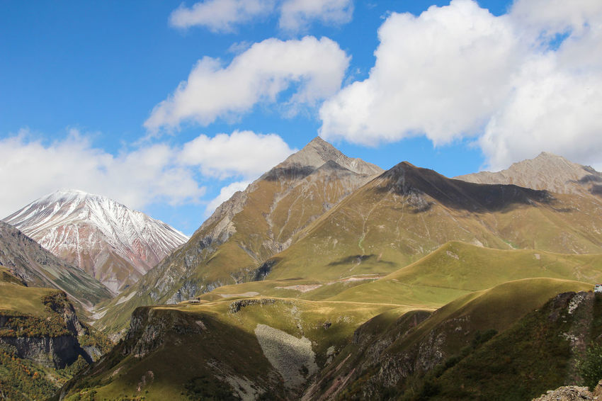 Georgia, Caucasus Mountains, at an altitude of 2170 m at sea level Caucasus Caucasus Mountains Beauty In Nature Cloud - Sky Day Kazbek Landscape Mountain Mountain Range Nature No People Outdoors Physical Geography Range Scenics Sky Tranquil Scene Tranquility