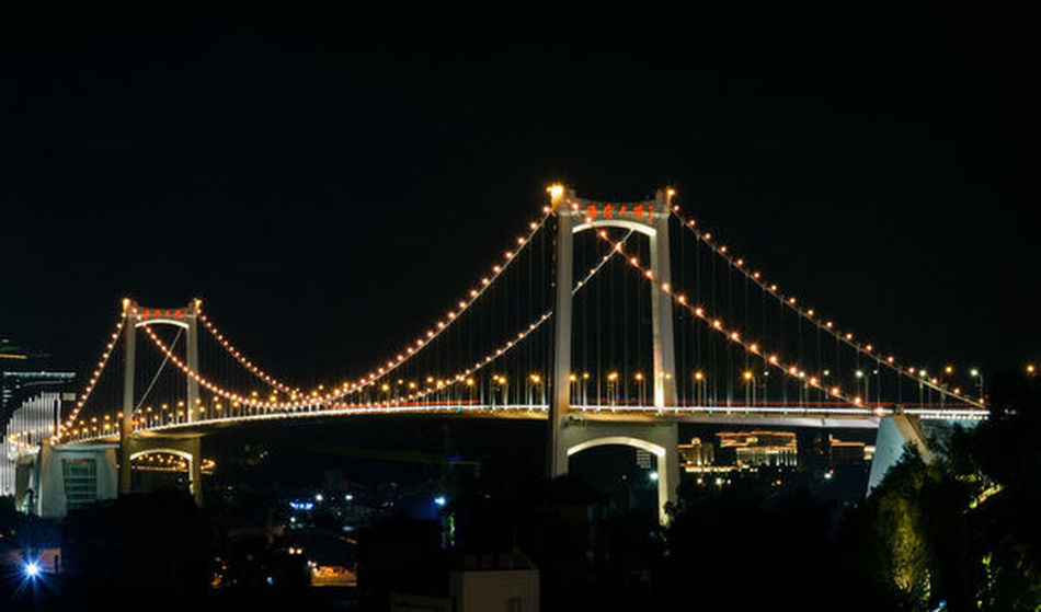 Xiamen Xiamen China Xiamen University Xiamen,China Architecture Bridge - Man Made Structure Built Structure Chain Bridge Connection Illuminated Night No People Outdoors Sky Suspension Bridge Transportation Xiamen Photo