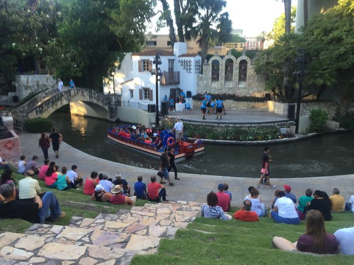 Open theater on the River Walk Ampitheater Architecture City Crowd Large Group Of People Outdoors People Real People River Walk At San Antonio Theater Show