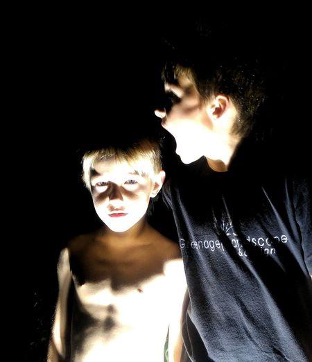 Boy playing at night
