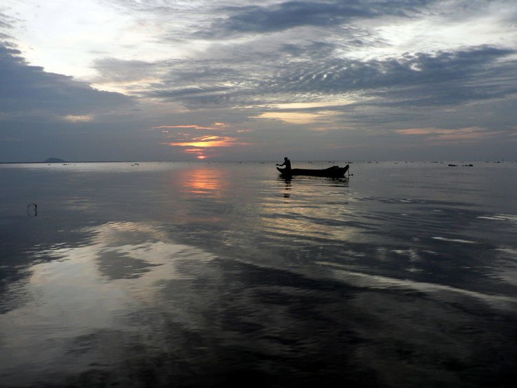 Fisherman on Tonle Sap Lake at Dawn, Cambodia Beauty In Nature Cambodia Casting A Net Dawn Fisherman Horizon Over Water Nature Outdoors Reflection Scenics Silhouette Sky Tonle Sap Lake Tranquility Water