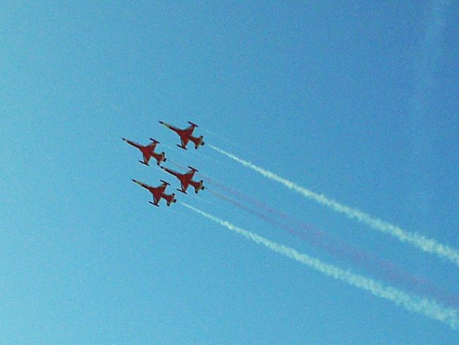 Airshow Vapor Trail Airplane Flying Blue Teamwork Sky Air Vehicle Transportation Smoke - Physical Structure Low Angle View Speed Military Airplane Aerobatics Day Mode Of Transport Propeller Airplane Formation Flying Clear Sky Red Turkish Stars Air Show Be. Ready.