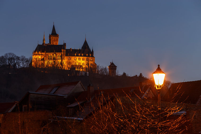 My Hometown Architecture Built Structure Building Exterior Illuminated Building Sky Night Nature Dusk The Past History No People Spirituality Place Of Worship Travel Destinations Religion Belief Travel Outdoors Wernigerode Castle Harzmountains