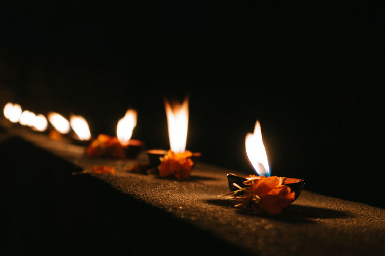 Burning Candle Celebration Close-up Diwali Fire - Natural Phenomenon Flame Glowing Heat - Temperature Illuminated Oil Lamp Religion Traditional Festival