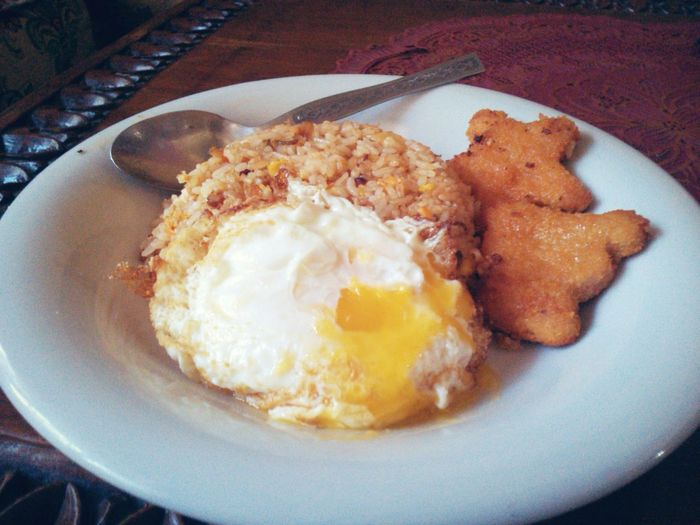 Food Indonesia Food Nasi Goreng Breakfast ♥ Nasi Goreng with eggs , yummy , Lets eat .