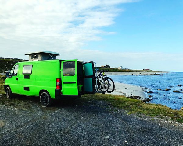 Greencar Sky Water Transportation Mode Of Transportation Cloud - Sky Land Vehicle Nature Sea Day Travel Green Color Beach Outdoors