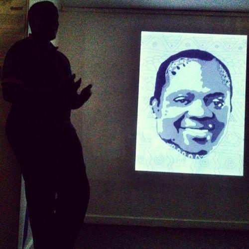 Brian Omolo presents his art project on Presidential aspirants at the Kuona Arts Centre Xperiap Snapseed Kenya365 Nairobi KuonaTrust