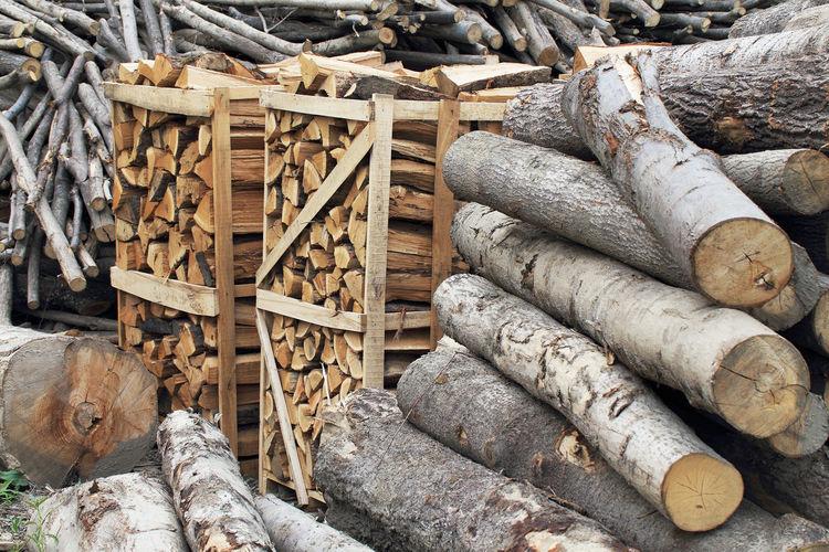 Stacked logs in lumberyard
