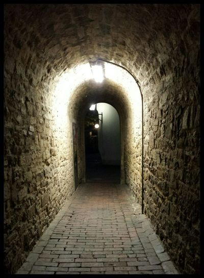 Narrow corridor of old building