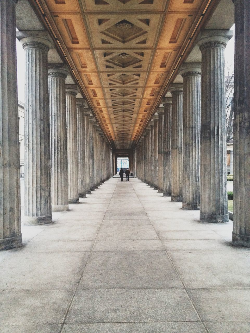 Walkway surrounded by columns