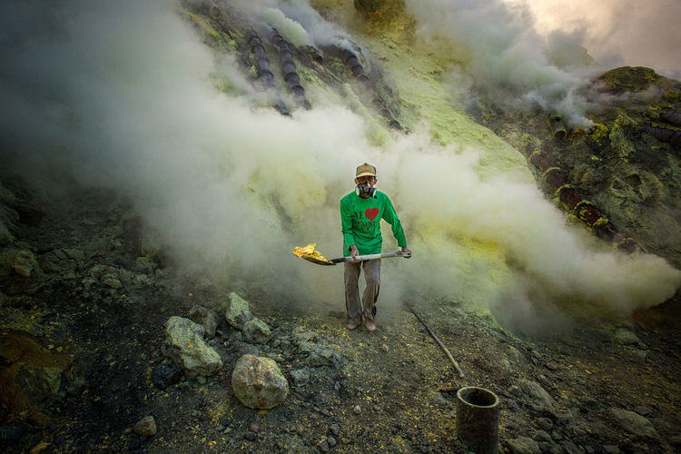 EyeEmNewHere Ijen Volcano Manual Worker Sulphur Smoke Hard Work Mining