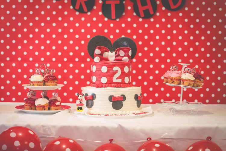 Minnie Mouse Cake. Birthday Cake Birthday Party Cakes Celebration Decoration Design Desserts Disney Cake Disney World Food Minnie Mouse No People Party Time Polka Dots  Red Still Life Sugar Sweets Showcase July Pivotal Ideas Color Palette Eyeemphoto Food Stories