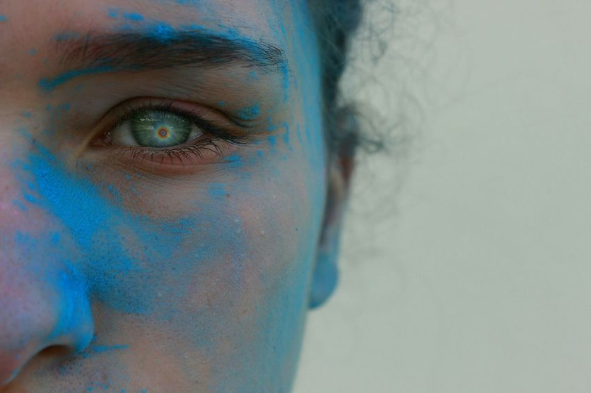 Cut And Paste Eye Photoshop Blue Blue Face Girl Face Focus On Foreground Lentilka Outdoors Canonphotography Headshot Eyebrow Women Eyesight Human Skin Real People Headshoot