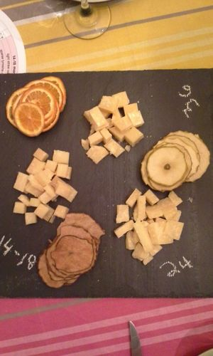 Parmigianoreggianoacademy Cheese plate with Simpleandcrisp fruit crisps. Firstcourse second cheese course coming.