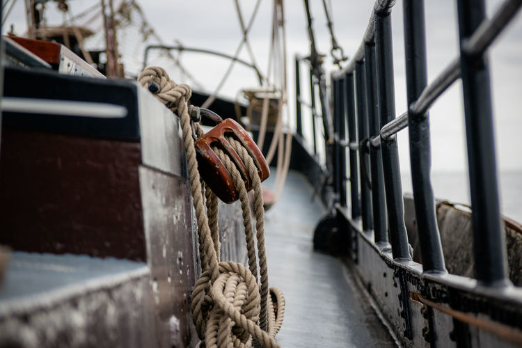 Rope hanging down on a sailboat - detail