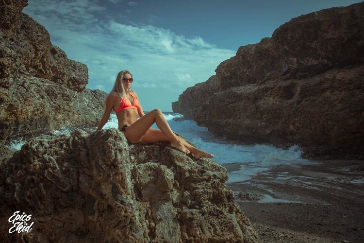 Model: Anne, location: Curacao, Year 2016 Model Shoot Model Curacao Rough Sea Cliffs Beach Rocks Northside Anne Canon 7D Colorgrading