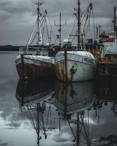 Upside down Moodyphotography Throwback Iceland Travel Rusty Old Boat Water Nautical Vessel Transportation Mode Of Transportation Sky No People Reflection Sea Harbor Waterfront Fishing Boat Pier