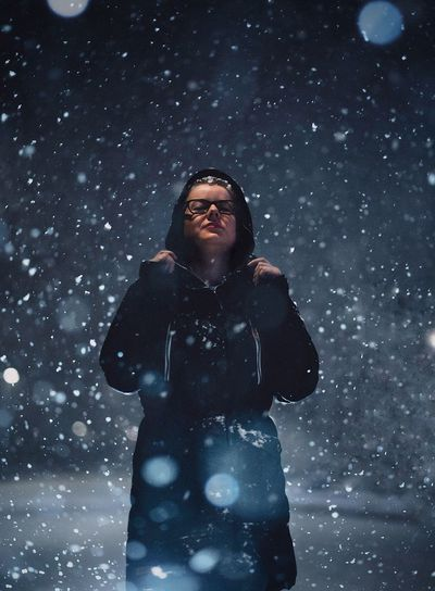 Snow EyeEm Best Shots EyeEm Photography Lifestyle Blue Portrait Of A Woman Portrait Winter Snow Cold Temperature Snowing Snowflake Weather One Person People Nature Frozen Standing Happiness EyeEmNewHere