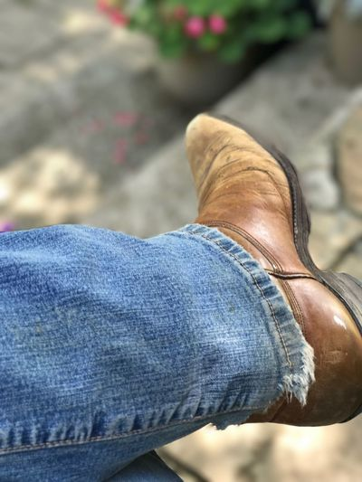 EyeEm Selects Selfie Jeans Human Body Part Close-up Outdoors Cowboy Boots Cowgirl Boots Farm Life