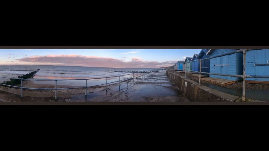 Panoramic View Panorama Sunset_collection Sunset Coastline Coast Beach Beach Huts Coastal Defences