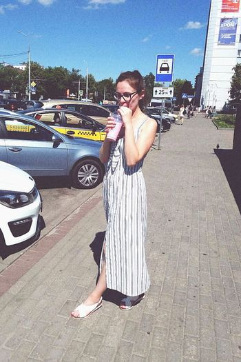 Young Women Photography Themes Standing Selfie Technology Wireless Technology Communication Sunglasses Car Architecture