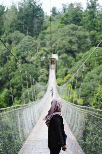 Woman standing on footbridge in forest