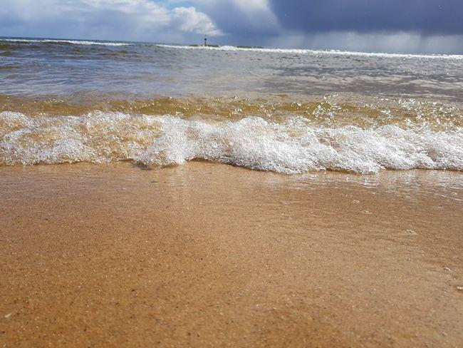 water crashing Water Wave Sea Beach Sand Sky Horizon Over Water Cloud - Sky Close-up Coast Seashore Coastline