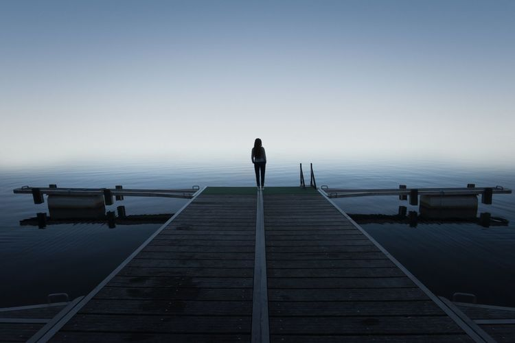 EyeEm Nature Lover Foggy Fog Light Lake Woman Who Inspire You Woman Water Sky Nature Beauty In Nature Pier Standing Tranquility Horizon Horizon Over Water Outdoors