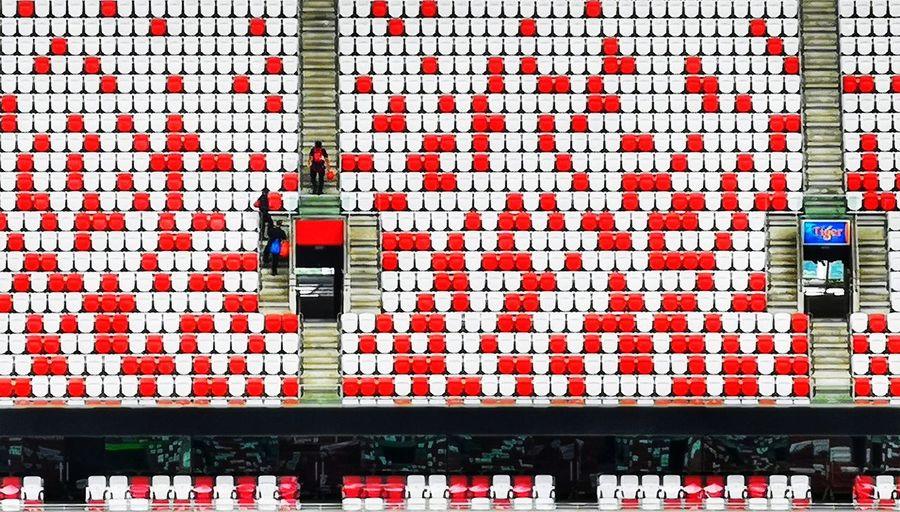 Men at work Colours Red And White Singapore Singapore Sports Hub Stadium Sportshubsg Sportssg Retail  Architecture Built Structure
