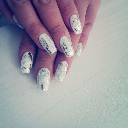 White Nails with foil :)