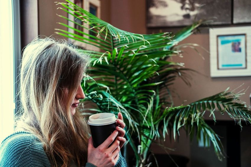 Just a girl and her coffee ☕ Girl Cafe Coffee Coffee Cup Drinking Close-up Tangled Hair Beverage Coffee - Drink